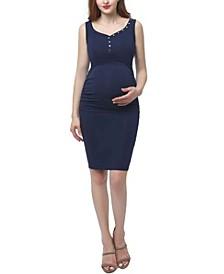 Alice Maternity Button Accent Midi Dress