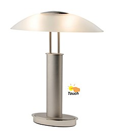 Avalon Modern 2-Tone Table Lamp with Oval Canoe-Shaped Frosted Glass Shade and 3-Way Touch Switch