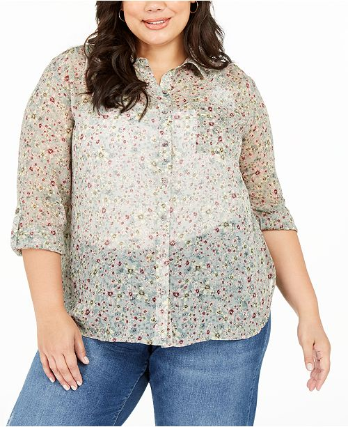Vince Camuto Plus Size Floral Print Sheer Button-Down Shirt