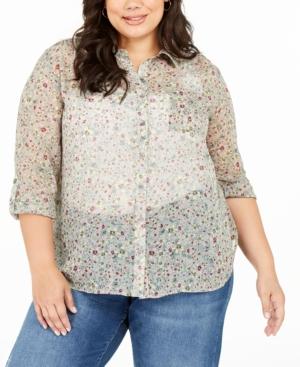 Plus Size Floral Print Sheer Button-down Shirt In Juniper