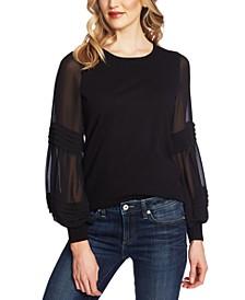 Sheer-Contrast Peasant-Sleeve Sweater