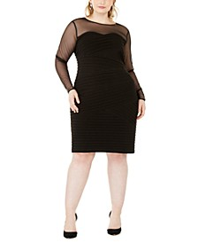 Plus Size Illusion-Detail Bodycon Dress