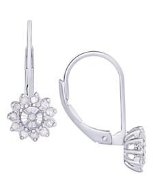 Diamond 1/4 ct. t.w. Flower Miracle Plate Leverback Earrings in Sterling Silver