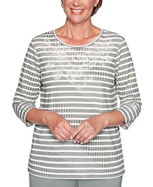 Loire Valley Embroidered Striped Top