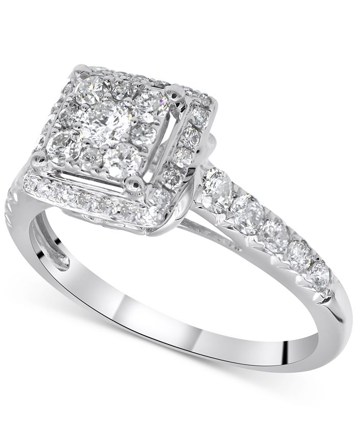Macy's - Diamond Halo Engagement Ring (7/8 ct. t.w.) in 14k White Gold