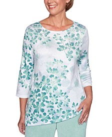 Lake Geneva Printed Asymmetrical-Hem Top