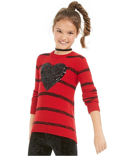 Epic Threads Big Girls Striped Heart Sweater, Created For Macy's