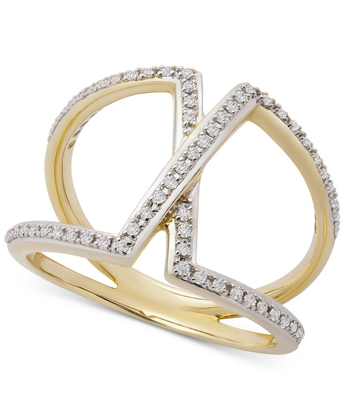 Wrapped - Diamond Overlap Statement Ring (1/4 ct. t.w.) in 14k Gold, Created For Macy's