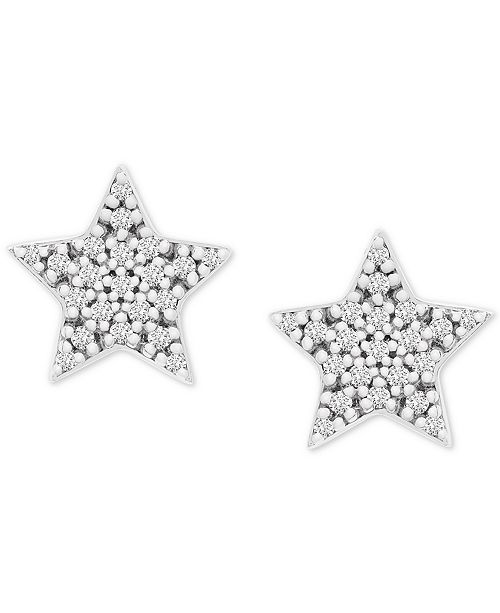 Wrapped Diamond Star Stud Earrings (1/10 ct. t.w.) in 14k White Gold, Created for Macy's