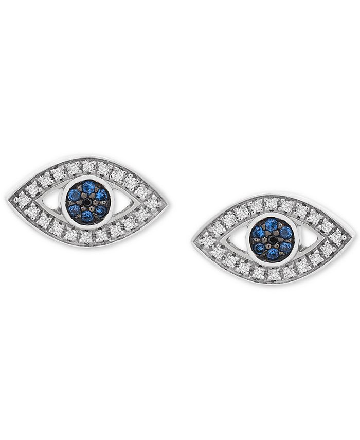 Wrapped - Diamond Evil Eye Stud Earrings (1/8 ct. t.w.) in 14k White Gold