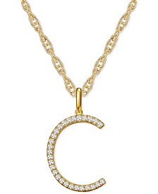 "Diamond Initial 18"" Pendant Necklace (1/6-1/3 ct. t.w.) in 14k Gold"