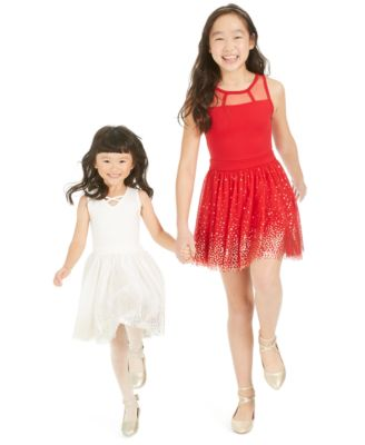 Big Girls Metallic Star-Print Tulle Dress, Created For Macy's