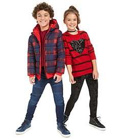 Big Boys Reversible Jacket, Thermal Top & Drawstring Jeans & Big Girls Heart Sweater & Velvet Leggings, Created For Macy's