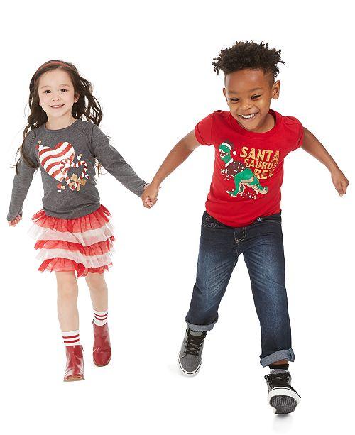 Epic Threads Toddler & Little Boys Santa T-Shirts & Jeans & Toddler & Little Girls Heart T-Shirts & Tulle Skirts, Created For Macy's
