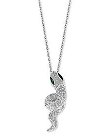 "EFFY® Diamond (5/8 ct. t.w.) & Emerald (1/20 ct. t.w.) Snake 18"" Pendant Necklace in 14k White Gold"