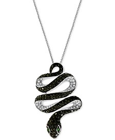 "EFFY® Diamond (1-3/4 ct. t.w.) & Emerald Accent Snake 18"" Pendant Necklace in 14k White Gold"