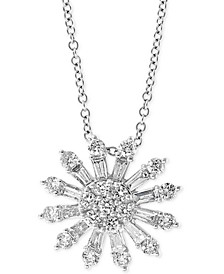 "EFFY® Diamond Sunburst 18"" Pendant Necklace (3/4 ct. t.w.) in 14k White Gold"