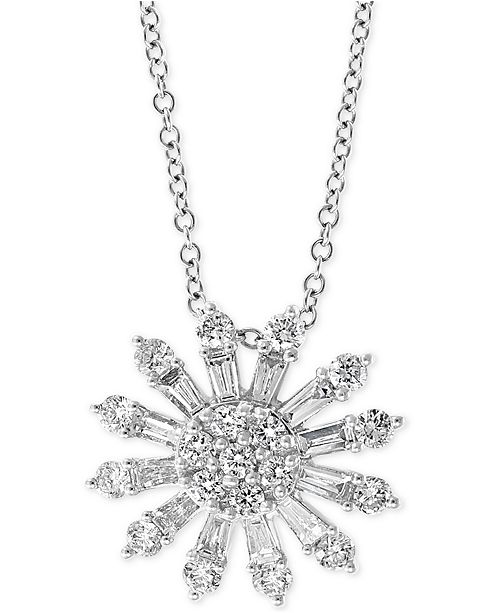 "EFFY Collection EFFY® Diamond Sunburst 18"" Pendant Necklace (3/4 ct. t.w.) in 14k White Gold"