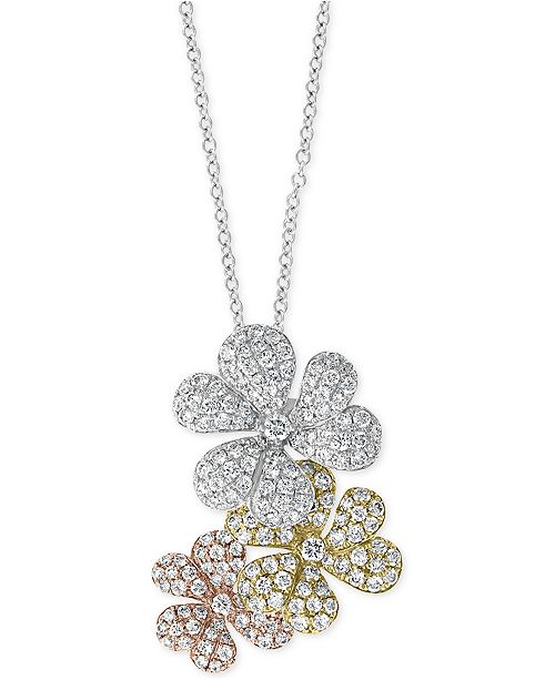 """EFFY Collection EFFY® Diamond Tri-Tone Flower 18"""" Pendant Necklace (1-1/2 ct. t.w.) in 14k Gold, 14k White Gold & 14k Rose Gold"""