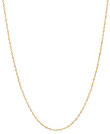 """14k Gold Necklace, 18"""" Light Rope Chain (1mm)"""