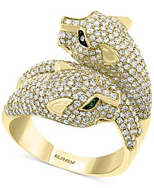 EFFY® Diamond (2-1/10 ct. t.w.) & Emerald (1/20 ct. t.w.) Double Panther Statement Ring in 14k Gold