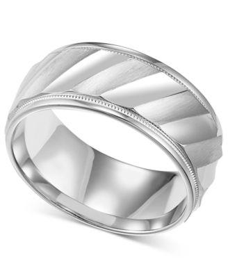 Mens Sterling Silver Ring Diagonal Stripe Wedding Band Rings