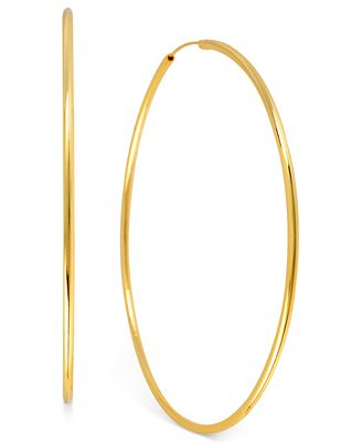 Hint of Gold 14k Gold-Plated Brass Earrings, 70mm Endless Hoop Earrings
