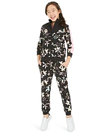 Big Girls Cross-Back T-Shirt, Floral-Print Track Jacket & Floral-Print Jogger Pants, Created For Macy's