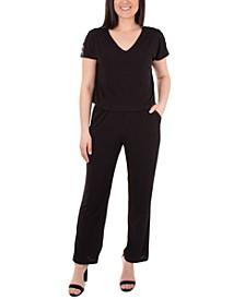 Petite Embellished-Shoulder Jumpsuit