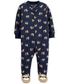 Baby Boys Cotton Sloth Footed Coverall