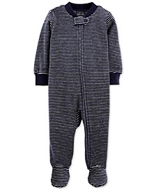 Baby Boys Striped Velour Footed Coverall