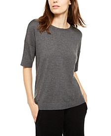 Crewneck Elbow-Sleeve Sweater