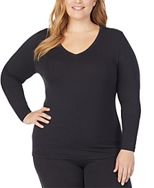 Plus Size Softwear with Stretch Long-Sleeve V-Neck Top