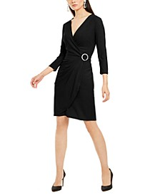 INC Petite Embellished-Accent Wrap Dress, Created For Macy's
