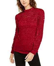 INC Petite Lace Mockneck Top, Created For Macy's
