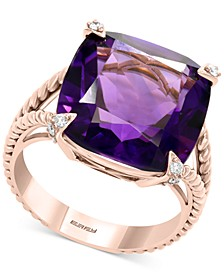 EFFY® Amethyst (10-3/4 ct. t.w.) & Diamond (1/10 ct. t.w.) Statement Ring in 14k Rose Gold
