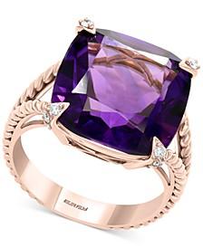 EFFY® Amethyst (10-3/4 ct. t.w.) & Diamond (1/10 ct. t.w.) Statement Ring in 14k Rose Gold