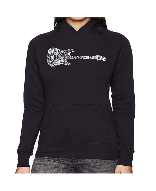 LA Pop Art Women's Word Art Hooded Sweatshirt -Rock Guitar