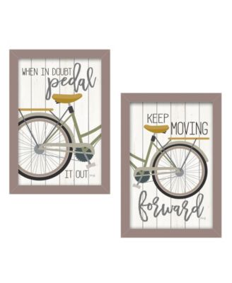 """Pedal it Out 2-Piece Vignette by Marla Rae, Taupe Frame, 14"""" x 20"""""""