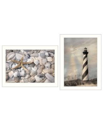 """Cape Hatteras Lighthouse and Sea Shells Collection By Lori Deiter, Printed Wall Art, Ready to hang, White Frame, 20"""" x 14"""""""
