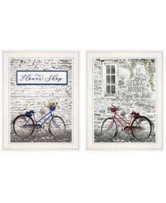 "Romantic Bicycles 2-Piece Vignette by Lori Deiter, White Frame, 15"" x 19"""
