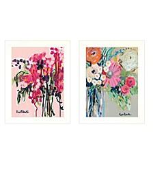 """Trendy Decor 4U Garden Flowers 2-Piece Vignette by Kait Roberts, White Frame, 15"""" x 19"""""""