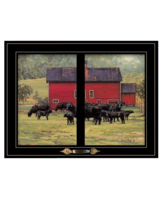 By the Red Barn Herd of Angus by Bonnie Mohr, Ready to hang Framed Print, White Window-Style Frame, 19