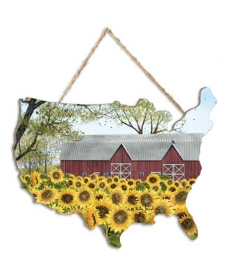 """Sunshine by Billy Jacobs, Printed Wall Art on a USA-Shaped Wood, 12"""" x 9"""""""