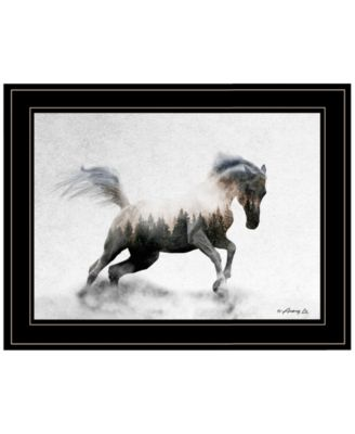 """Running White Stallion by andreas Lie, Ready to hang Framed Print, Black Frame, 19"""" x 15"""""""