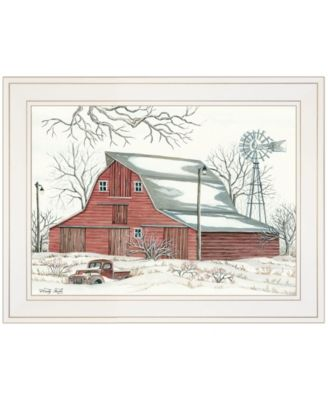 """Winter Barn with Pickup Truck by Cindy Jacobs, Ready to hang Framed Print, White Frame, 19"""" x 15"""""""
