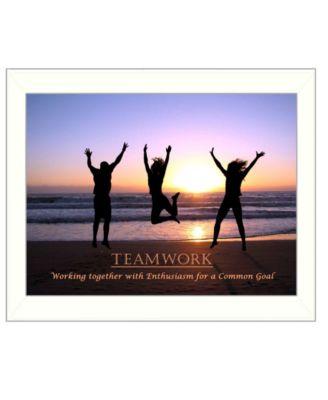 "Teamwork By Trendy Decor4U, Printed Wall Art, Ready to hang, White Frame, 14"" x 18"""