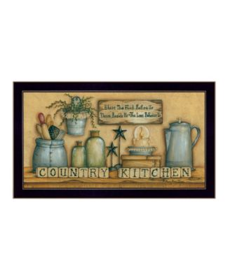 Country Kitchen By Mary June, Printed Wall Art, Ready to hang, Black Frame, 20