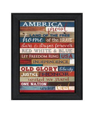 America Proud By Marla Rae, Printed Wall Art, Ready to hang, Black Frame, 10
