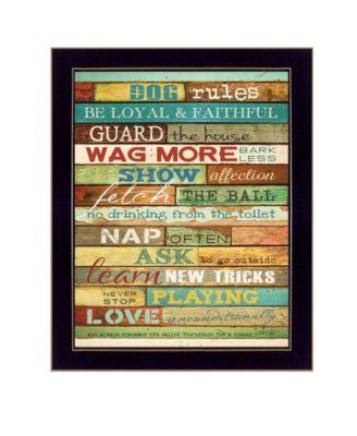 "Dog Rules By Marla Rae, Printed Wall Art, Ready to hang, Black Frame, 18"" x 22"""